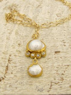 24k Gold Pearls Necklace   FREE SHIPPING by Omiya on Etsy, $560.00