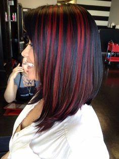 Red Hair Streaks, Black Hair With Red Highlights, Deep Red Hair Color, Hair Highlights, Red Black Hair, Deep Burgundy Hair, Green Hair, Purple Hair, Hair Color Underneath