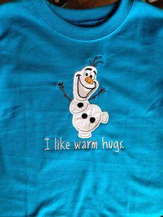 Olaf warm Hugs shirt, frozen Disney movie, FROZEN shirt on Etsy, $18.00