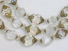 Stunning Triple Strand Laguna Crystal Bead Necklace