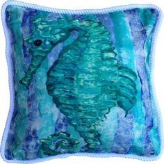 Aqua and Blue Seahorse Pillow