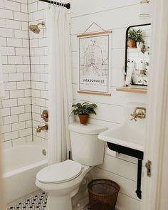 Bathroom renovation, modern vintage bathroom, farm sink, black white brass, ship… - Home Professional Decoration Bathroom Interior, Small Bathroom, Bathrooms Remodel, Home Remodeling, Amazing Bathrooms, Bathroom Decor, Bathroom Renovation, Modern Vintage Bathroom, Vintage Bathroom