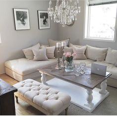 Living Room White, Cozy Living Rooms, New Living Room, Apartment Living, Living Room Decor, Living Spaces, Bedroom Decor, Rustic Living Room Furniture, Home Decor Furniture
