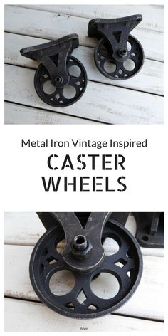 "I absolutely love the look of these Metal Iron Wheels! Found this set (2) Vintage Inspired Metal ""Caster Wheels"" on Etsy! These have a great industrial look and the perfect size for any piece, especially for an industrial pallet coffee table! #diy #casterwheels #coffeetable #woodwork #diyproject #ad #bbmaff #black #vintage #rusticdecor #industrial #industrialdecor"