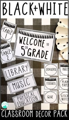 Black and White Editable Classroom Decor Pack - This Black and White Decor theme is an easy and versatile way to decorate a classroom! This theme i - Elementary Classroom Themes, 5th Grade Classroom, Classroom Decor Themes, Classroom Setting, Classroom Setup, Classroom Design, Future Classroom, Classroom Organization, Classroom Management