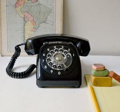 Vintage Black Rotary Dial Desk Phone By Automatic Electric Retro