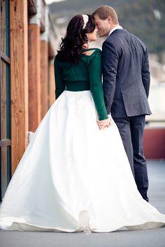 wedding dress with evergreen cardigan, green wedding ideas, winter wedding ideas