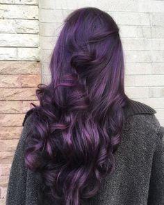 dark purple hair with curls