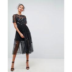 ASOS Embellished Smock Midi Dress ($150) ❤ liked on Polyvore featuring dresses, black, prom dresses, smocked dresses, mesh mini dress, mini prom dresses and slip dress