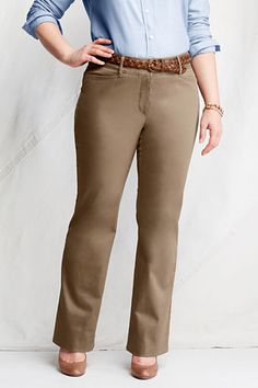 Women's Plus Size Stretch Boot-cut Chino Pants from Lands' End