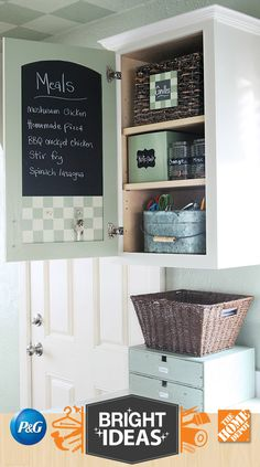 chalkboard paint inside cabinet door