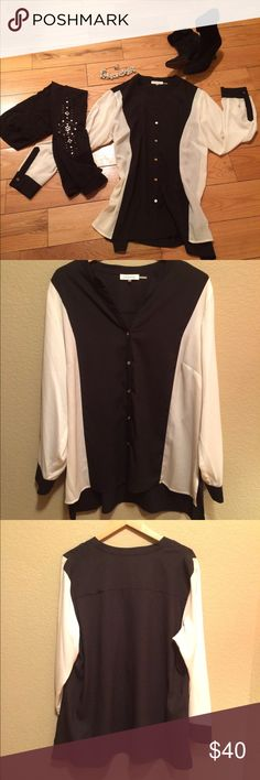 Calvin Klein NWOT long sleeve sheer blouse Calvin Klein long sleeve sheer blouse. Size 0X, which is 1 size larger than an XL. Wear with leggings & boots or jeans/slacks, 100% poly. BOOTS & LEGGINGS IN CLOSET TOO! Bundle & SAVE! Calvin Klein Tops Blouses