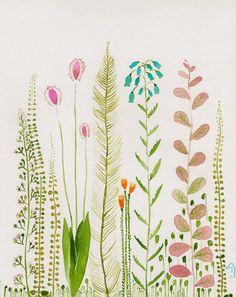 Garden original watercolor by zuhalkanar on Etsy, $35.00