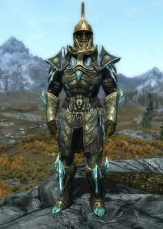 """Emerald Sentinel"" by Lord Howe Glass Armor, Boots and Gauntlets Dwarven Helmet"