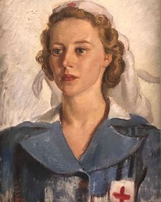 Portrait of Private Gwynneth Patterson, Australian Army Medical Women's Service (AAMWS), Australian Blood and Serum Preparations Unit. by Nora Heysen. Australian Painters, Australian Artists, Nurse Art, Nz Art, Oil Portrait, Painting Portraits, Call Art, Photographs Of People, Classic Paintings