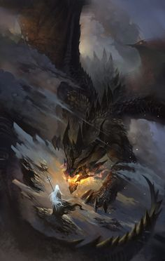 f Elf Mage Wizard vs Black Dragon mountainside By artist Scott Shi. Mythical Creatures Art, Magical Creatures, Dragon Artwork, Fantasy Monster, Monster Art, Fantasy Inspiration, Fantasy Artwork, Creature Design, Fantasy World