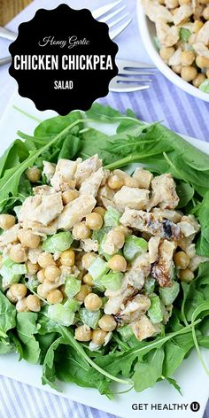 This honey garlic chicken chickpea salad is SUPER simple to make and very delicious!!