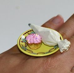 Kawaii Cute Japanese Ring  Cupcake with Whip by fingerfooddelight, $10.00