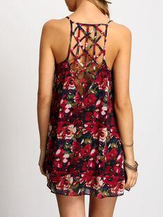 Multicolor+Spaghetti+Strap+Hollow+Floral+Dress+17.99