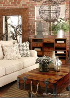 What Do You Think About Rustic Living Room Design Ideas? If you want to have ideas for an Comfy Rustic Farmhouse Living Room in your home. Chic Living Room, Home Living Room, Living Room Designs, Living Room Decor, Living Area, Cozy Living, Living Spaces, Industrial Farmhouse Decor, Industrial Style