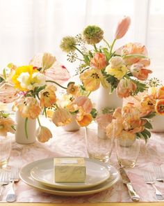 An array of pastel blooms for your table tops