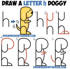 How to Draw a Cartoon Dog Begging from 2 Letter 'h' Shapes Easy Step by Step Drawing Tutorial for Kids (Step Drawing For Kids) Word Drawings, Art Drawings For Kids, Drawing For Kids, Easy Drawings, Animal Drawings, Drawing Animals, Drawing With Words, Drawing Cartoon Characters, Cartoon Drawings