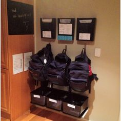 When you have more then 2 kids, I can definitely see the use of this! Back To School Organization, Care Organization, Organization Station, Entryway Organization, Home Organisation, Entryway Closet, Porch Entry, Decoration Originale, Happy Kids
