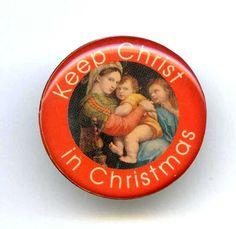 "Vtg XMAS ""Keep Christ in Christmas"" Acrylic Coated Gold Tone Tie Tack Pin #NotSigned"