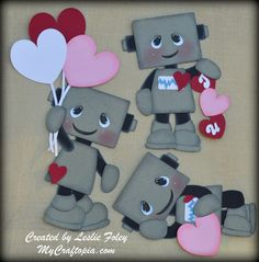 Robots Valentines Premade Scrapbooking by MyCraftopia on Etsy, $18.95