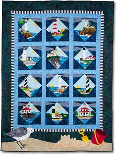 Lighthouses quilt BOM at Stitchin Heaven.  Design by Debra Gabel.