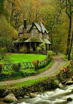 nature house home river water forest park trees bridge leaves colorful spring fall colors walk leaves nature tree forest park mountain river water bridge house house Beautiful Homes, Beautiful Places, Beautiful Pictures, River House, Jolie Photo, Cozy Cottage, Witch Cottage, Nature Wallpaper, Hd Wallpaper