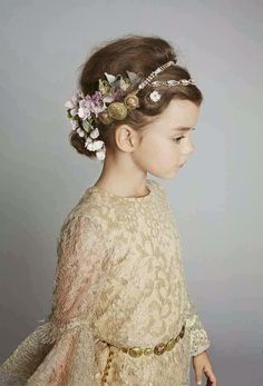 Floral headband and gold lace dress - Dolce & Gabbana Kids - Via Vivi & Oli Baby Fashion Life