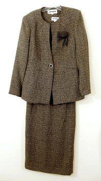 Olivianne Three-Piece Brown Tweed Skirt Suit