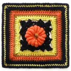 Mellie Blossom: Crochet Color Card – Halloween Colors and Pretty Pumpkin Crochet Square with pattern link. Granny Square Pattern Free, Granny Square Häkelanleitung, Granny Square Crochet Pattern, Crochet Squares, Crochet Motif, Granny Squares, Crochet Borders, Crochet Granny, Crochet Pumpkin