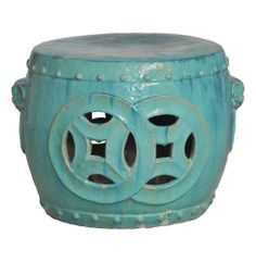 "Antique Green Glaze Double Fortune Rare 27""D Garden Seat Drum by Emissary Home & Garden. $1724.00. Finish: Antique green mint teal glaze. Can be used indoor or outdoor above freezing temperature. Ceramic will crack in below freezing conditions.. 18.5"" inches high x 27 inches diameter. Made from earthenware ceramic. Please note that all reactive glazes are subject to variation including color, amount of coverage. These glaze variations are not considered a defect,..."
