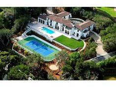 Imagine having this US open style tennis court in your backyard?  Ralston Av, Hillsborough, CA #luxuryrealestate