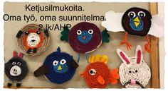 Ketjusilmukoita. Oma suunnitelma. Ketjuvirkkauseläin. 2.lk/AHP Crochet Hats, Knitting Hats