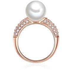Perlový prsteň Muschel, rosegold s bielou perlou, vel. 58