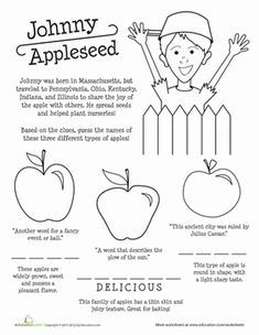 johnny appleseed worksheets - Google Search