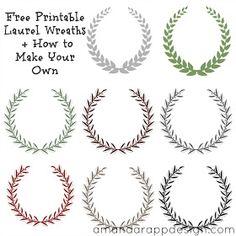 Free Printable Laurel Wreath, free printable laurel wreaths, laurel wreath design