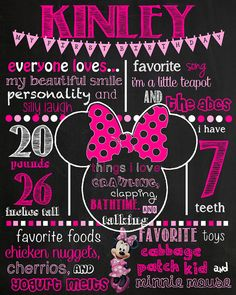 Minnie Mouse Birthday Chalkboard Sign by VickiTsCreations on Etsy Minnie Y Mickey Mouse, Minnie Mouse 1st Birthday, Birthday Board, Girl Birthday, Happy Birthday, Birthday Chalkboard, Chalkboard Signs, Chalkboards, 3rd Birthday Parties