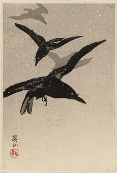 Crows Flying in a Snowstorm' (1920's). Woodblock print by Itô Sôzan ( born 1884, active 1919–26). Publisher : Watanabe Shôzaburô