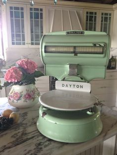 #Vintage Mint Kitchen Scale ~ Just because I love it. http://myparisfleamarket.com/?utm_content=bufferd740f&utm_medium=social&utm_source=pinterest.com&utm_campaign=buffer #retro #kitchenware