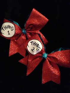 Dr. Suess Thing 1 & Thing 2 Cheer Bow 3 by PixieDustPaiges on Etsy, $20.00