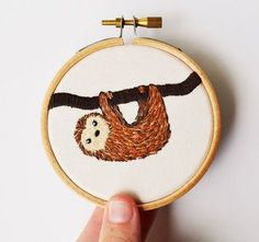 Slow loris/Sloth Hand Embroidery Hoop Art by PixiecraftHandmade