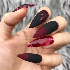 Best Black Stiletto Nails Designs For Your Halloween ; Black Nails; - Best Black Stiletto Nails Designs For Your Halloween ; Black Nails; black style nails – n - Halloween Press On Nails, Halloween Nail Designs, Halloween Ideas, Bloody Halloween, Halloween Images, Halloween Halloween, Glue On Nails, Gel Nails, Acrylic Nails