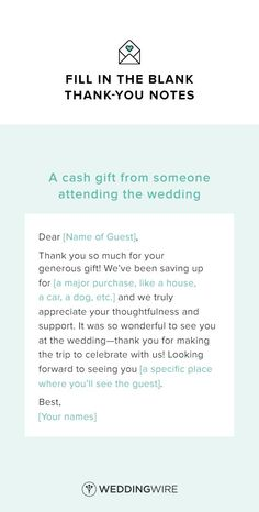 Wedding Thank You Note Template - thank you note template for a cash gift - see more thank you note templates on /weddingwire/