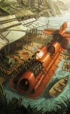 Razorboat Picture (2d, illustration, jungle, vehicle, steampunk)