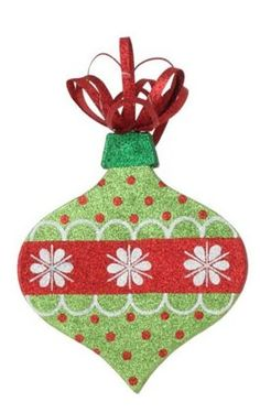 """From the Christmas Brites CollectionItem #3138041This whimsical ornament truly is gorgeous! The colors pop and it's drenched in tiny, color-matched glitter for ultimate sparkleFeatures an onion shape with a snowflake and polka dot pattern on both sides and is topped with a festive red metal bowDouble sided, flat ornamentComes ready-to-hang on a clear cordRecommended for indoor use onlyDimensions: 18""""H x 8.5""""W x 1.25""""DMaterial(s): plastic/metal"""