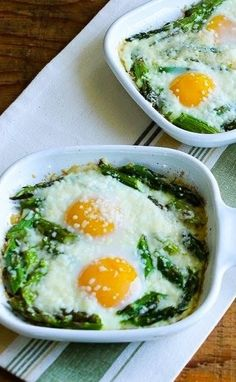 If you like baked eggs and asparagus, you'll love this combination or Baked Eggs with Asparagus and Parmesan for an easy breakfast.